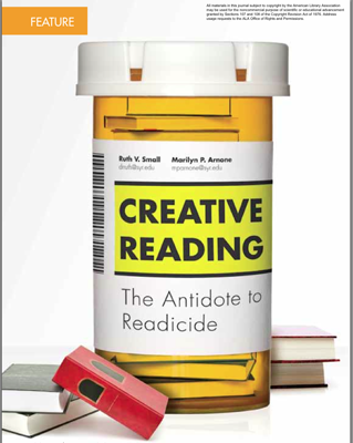 Feature story image of prescription bottle with title of story :Creative Reading: The Antidote to Readicide